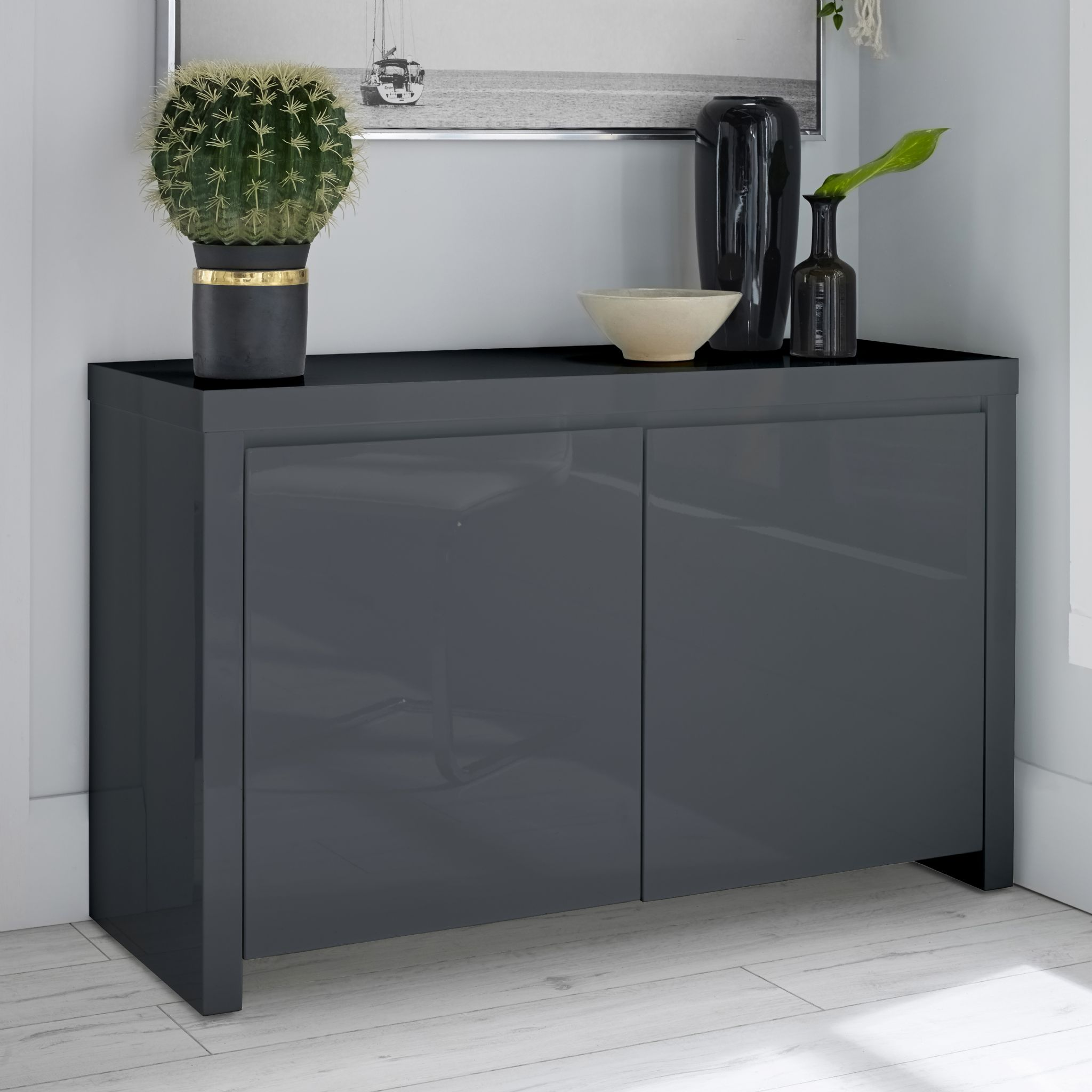 HIGH GLOSS CONTEMPORARY BLACK DARK GREY SIDEBOARD STORAGE CABINET eBay
