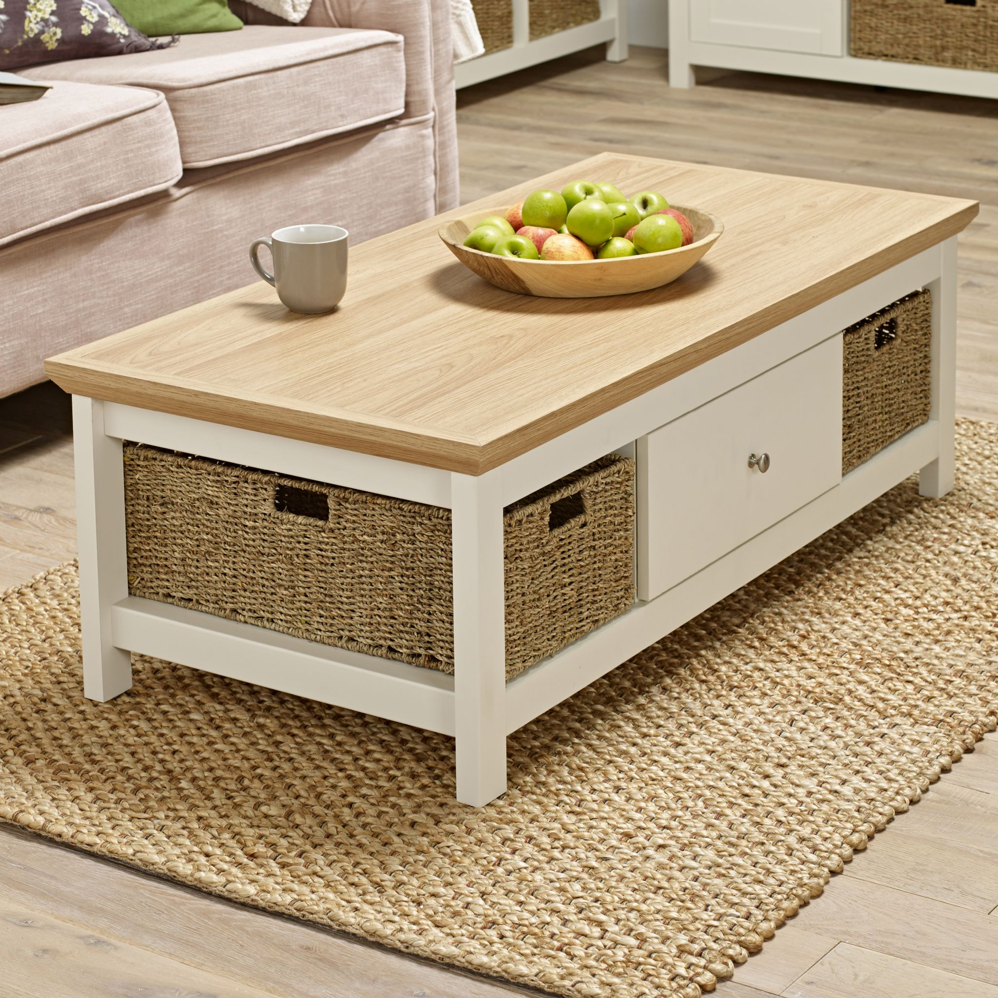 Excellent Off White Cream Oak Country Coffee Table With Basket Evergreenethics Interior Chair Design Evergreenethicsorg