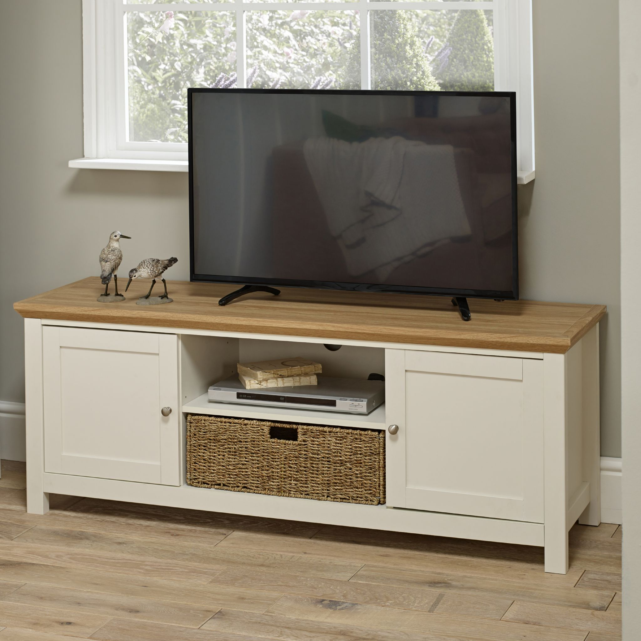 Off White Cream Oak Country Television Unit Tv Cabinet With Basket