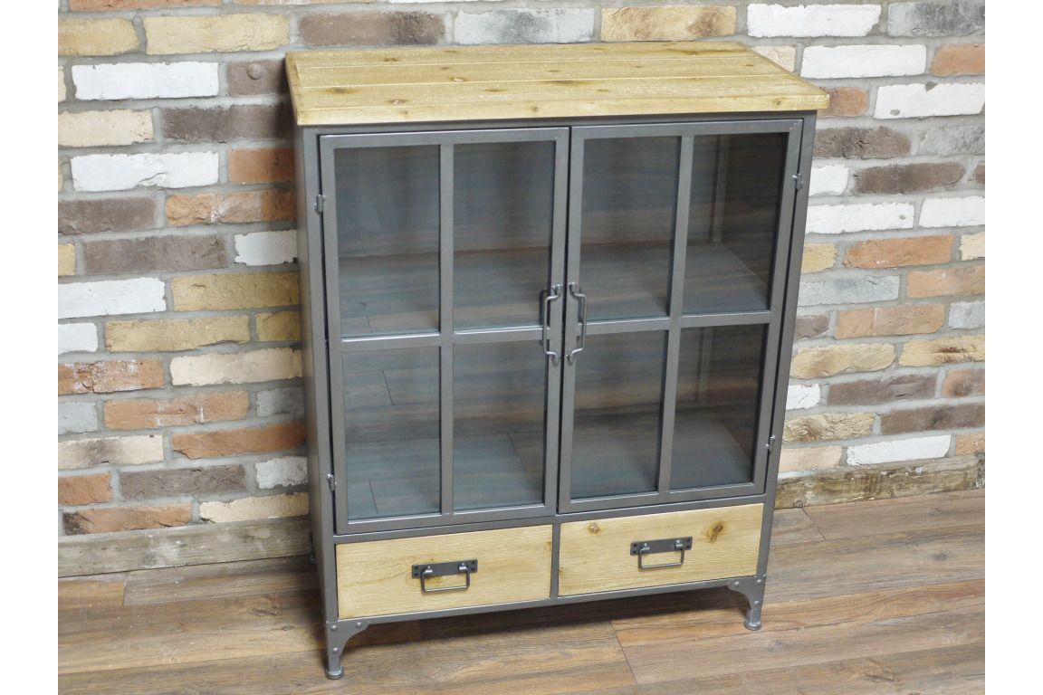 industrial metal solid wood storage cabinet glass doors sideboard rh ebay co uk wooden storage cabinets with glass doors wood storage cabinets with doors