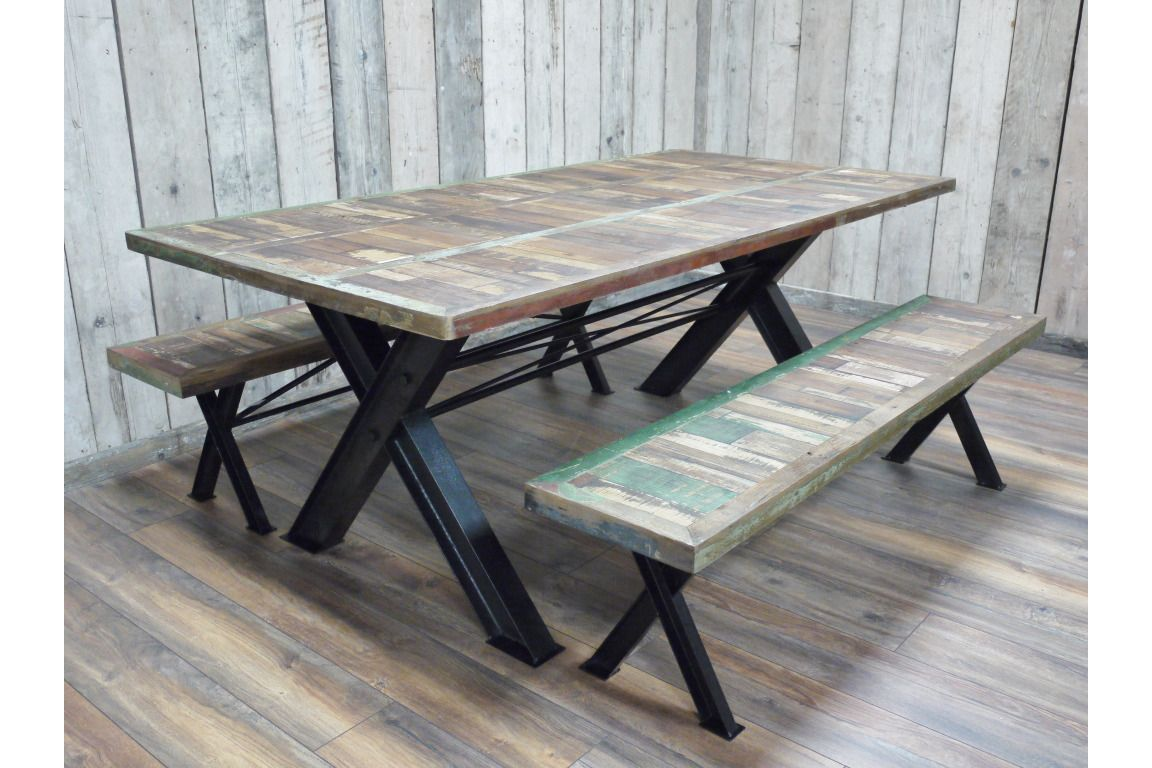 Industrial Reclaimed Solid Wood Metal Dining Kitchen Table Two